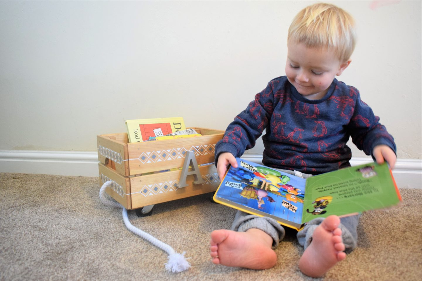 Wooden book storage carts for toddlers